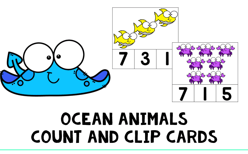 Ocean Animals Count and Clip Cards