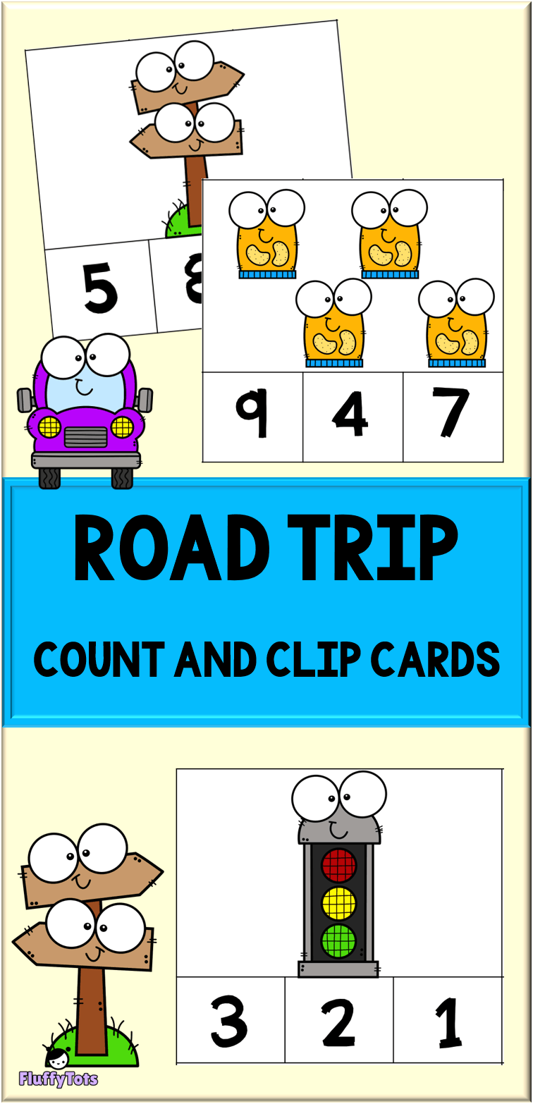 car road trip count and clip cards printables