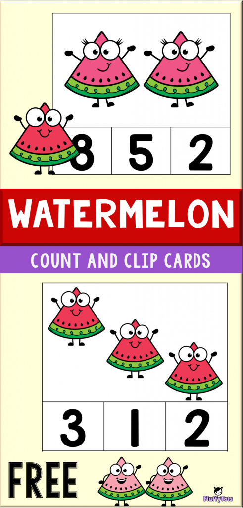 watermelon count and clip cards printable